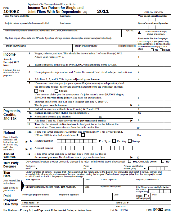 2011 Irs Form 1040 File Form 1040ez 2005 Jpg Wikimedia Commons ...