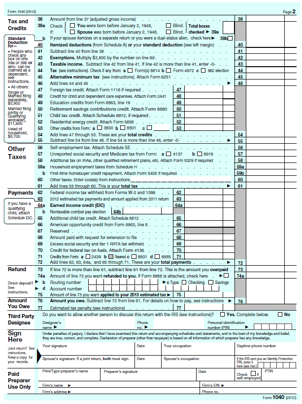 1040 Form 2012 Printable Olivero