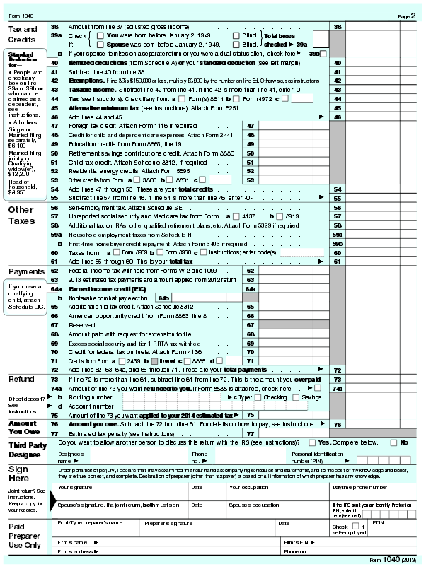 Form 1040 ( page 2)